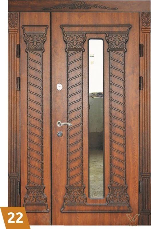 Двері вхідні, двополі з карнізом