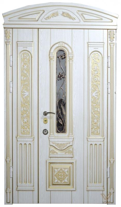 Двері вхідні двополі. З карнізом