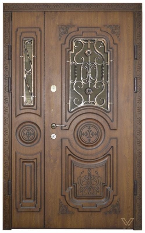 Двері вхідні двополі, з ковкою та склопакетом