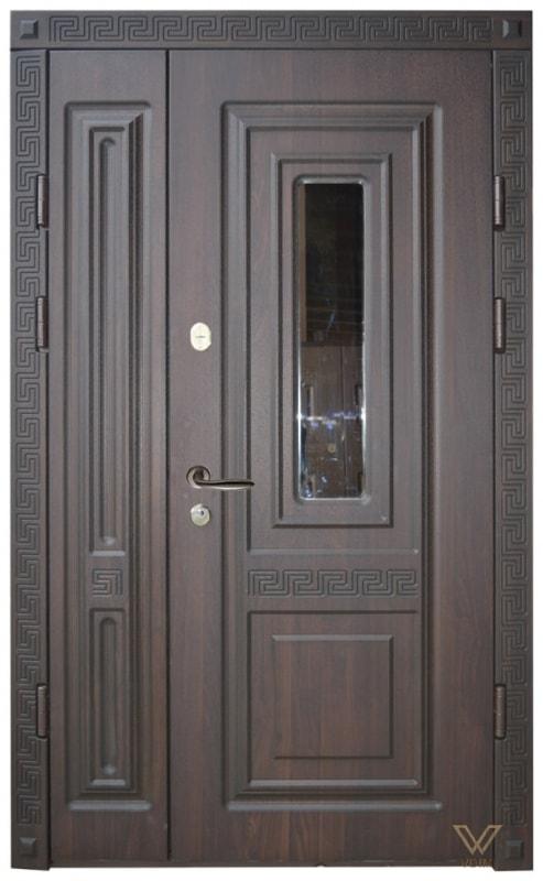Двері вхідні двополі, з склопакетом