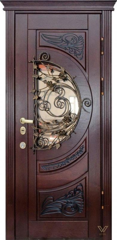 Двері вхідні, однополі з ковкою та склопакетом