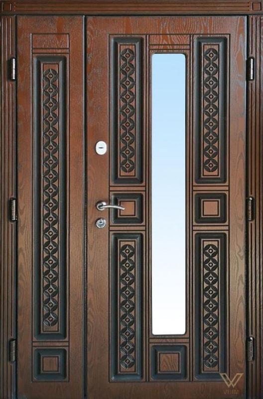 Входные двери с полимерными накладками, двуполые с стеклопакетом