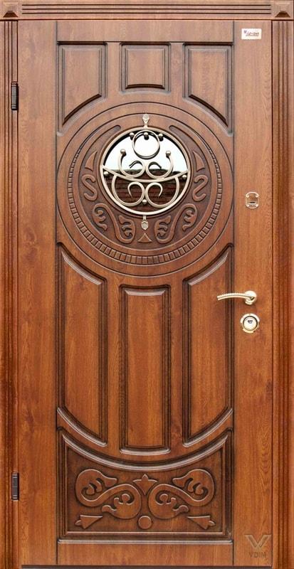 Двері вхідні однополі, з ковкою та склопакетом