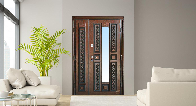 Вхідні двері з полімерними накладками, двополі з склопакетом