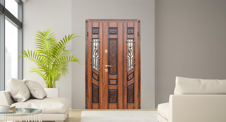 Двері вхідні, двополі з двома склопакетами